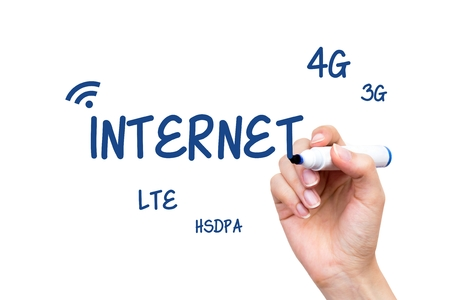 lte: Hand writing internet standards content with blue marker on virtual whiteboard Stock Photo