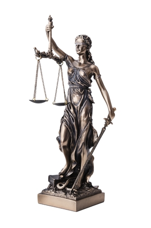 justness: Themis with scale and sword isolated on white. Justice and law symbol statue