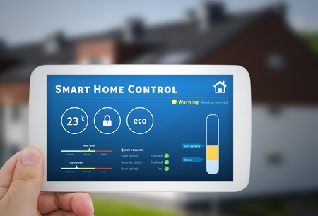 eco innovation: Intelligence home control technology. Remote automation system on mobile device. Eco and security solution Stock Photo
