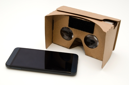 Virtual reality cardboard glasses. Easy way to watch movies and play games in 3D Zdjęcie Seryjne - 52916750