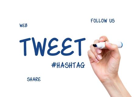 tweet: Hand drawing Tweet word. Social media conception on virtual whiteboard