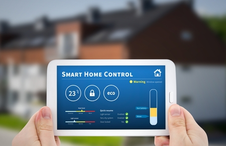 thermostat: Intelligence home control technology. Remote automation system on mobile device. Eco and security solution Stock Photo