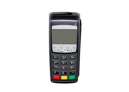 Payment terminal isolated on white. Front panel texture for your object