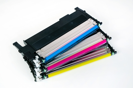 toner: Toner cartridge set for laser printer. Computer supplies on white background. Stock Photo