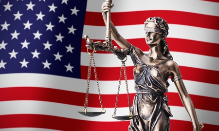 Themis with scale, symbol of justice on USA flag background composition