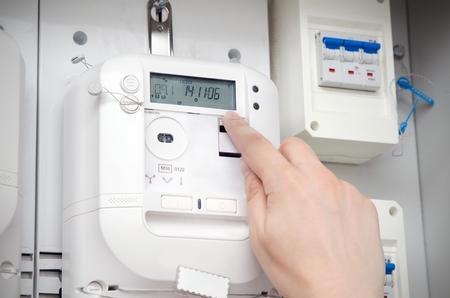 電力量計。電気技術者サービス ユニット 写真素材 - 61256353