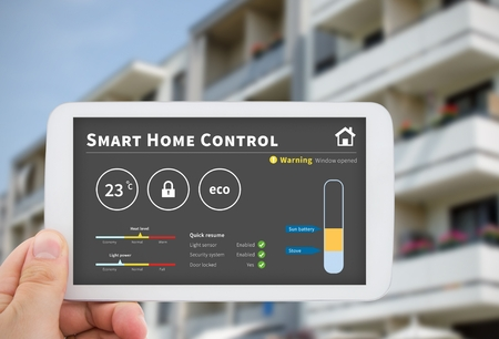 home security: Intelligence home control technology. Remote automation system on mobile device. Eco and security solution Stock Photo