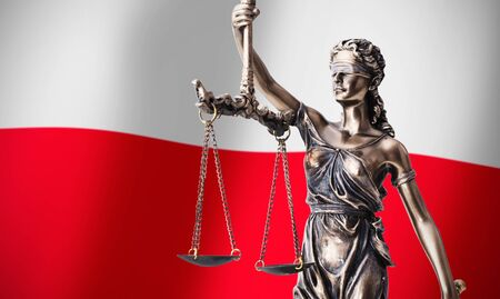 themis: Themis with scale, symbol of justice on Polish flag background composition