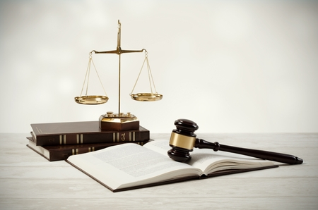 Justice concept on wooden background. law attorney court lawyer gavel judge legal composition