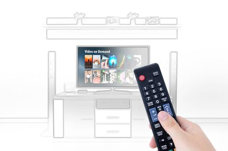 home cinema: Sketch design of home cinema in living room with video on demand service concept
