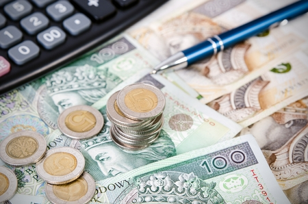 Stack of polish money business composition. polish money coins business income stack gambling currency concept Standard-Bild
