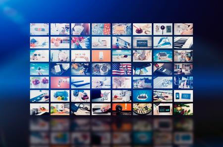 マルチ メディア ビデオ壁のテレビ放送。マルチ メディアの壁テレビ ビデオ放送広告背景放送コンセプト 写真素材 - 70609841