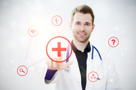Doctor touching screen with icons. Futuristic medicine. Doctor medical technology icon healthcare screen touching data concept