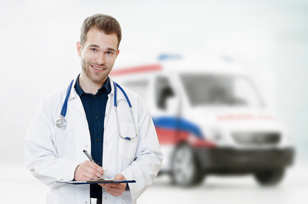 doctoring: Doctor medic ambulance health care medicine hospital stethoscope composition Stock Photo