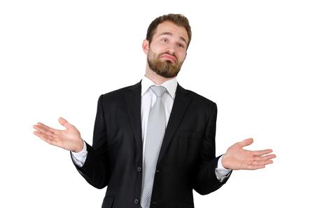 Zakenman die weg tegen witte achtergrond ophalen. ik weet het niet handen vormen man zakenman begrip van zaken begrip Stockfoto