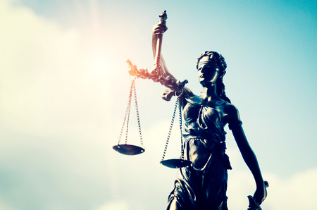 Lady justice, themis, statue of justice on sky background. law attorney court lawyer judge courtroom legal lady concept