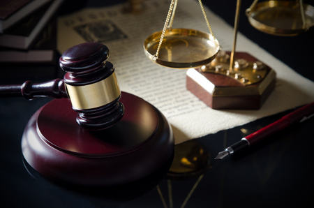 Court gavel, scale of justice, law theme. law lawyer hammer attorney court background composition judge concept