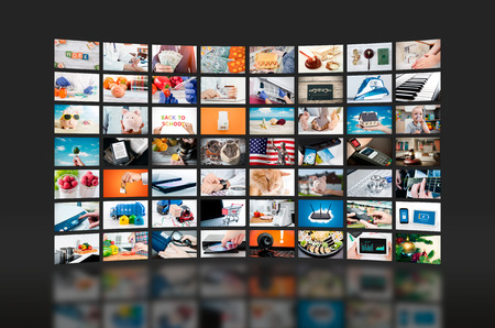 Multimedia video wall television broadcast. multimedia wall television video broadcast advertising background broadcasting concept Zdjęcie Seryjne - 91116247