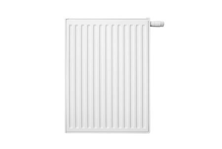 Radiator isolated on white background. radiator white heater central metal front isolated water concept