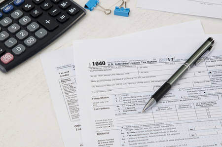 Us Tax Form 1040 With Pen And Calculator Tax Form Law Document