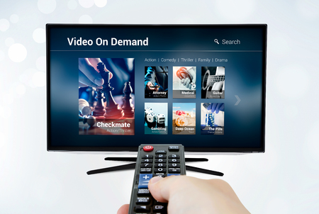 Video on demand VOD application or service on smart TV. Television multimedia stream internet concept Imagens