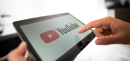 WROCLAW, POLAND - JULY 31, 2018: Youtube is most popular video service developed by Google. Redactioneel