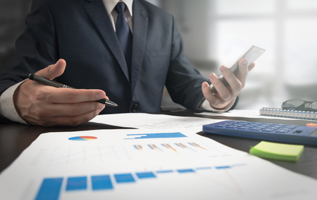 Tax advisor discusses about finances. Manager works in the office Zdjęcie Seryjne