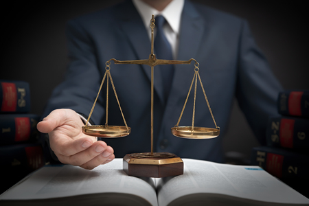 Weight scale of justice, lawyer in library. Law, legal with attorney concept