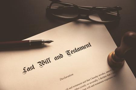 Last Will and Testament concept. Fountain pen, seal on desk