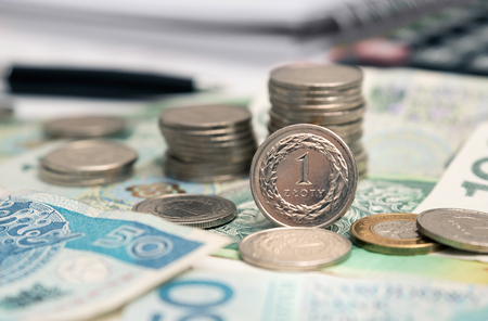 Polish currency, stack of Polish coins. The 1 zloty coin stands in the foreground. Business and financial concept Zdjęcie Seryjne