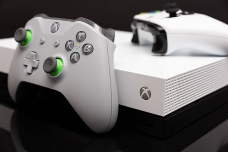 Wroclaw, Poland - JAN 08, 2019: Xbox One X is most powerful generation video gaming console