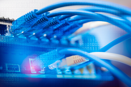 Network infrastructure, switch or router socket, cable connections. wired transmission, data center concept Banque d'images