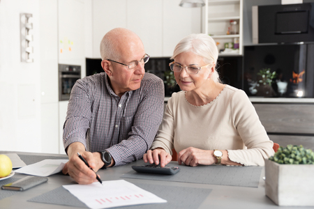 Senior couple discussing investment, checking their bills at home Stok Fotoğraf