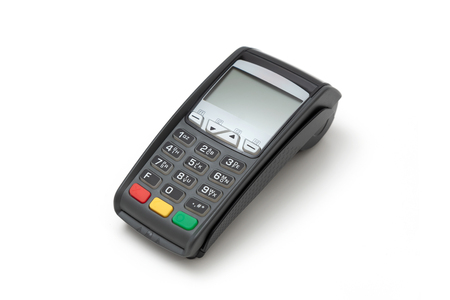 Credit card terminal on white background. Close up of payment device, card machine.