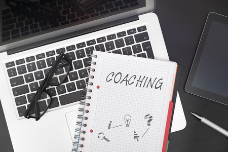 Coaching composition on desk. Business training concept at work Zdjęcie Seryjne