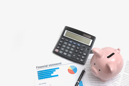 Business and finance concept with piggy bank and documents