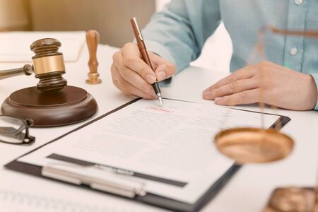 Lawyer, attorney or notary working in office. Justice and law concept Zdjęcie Seryjne - 125165261