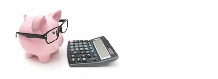 Piggy bank and calculator on white background. Savings and budget concept Zdjęcie Seryjne - 125165587