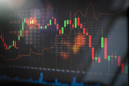 Börsenhandelsdiagramm, Investitionskerzendiagramm. Hintergrundkonzept für Finanzinvestitionen Standard-Bild