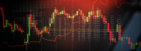 Stock market trading graph, investment candlestick chart. Financial investment background concept Фото со стока