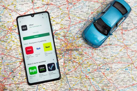 Wroclaw, Poland - OCT 23, 2019: Uber application on Google Play store. Uber is sharing-economy service for ubran transport. Editoriali