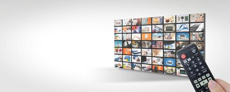 Television streaming, TV multimedia panel. Web banner image with copy space
