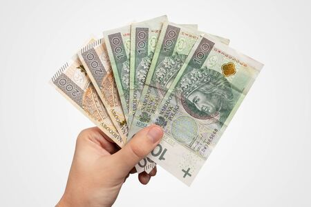 Hand holding PLN banknotes. Polish zloty currency, salary or loan concept, hand isolated
