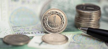 Polish money, coin stack on polish banknotes. Business, finance concept Reklamní fotografie