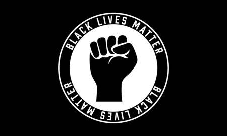 Black Lives Matter movement vector illustration. Raised fist symbol