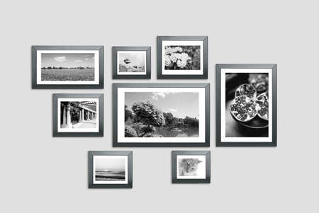 Photo frames on the wall. Photography portfolio, photo lab concept