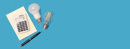 Light bulbs, energy efficiency background with copy space Imagens
