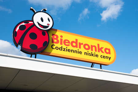 Wroclaw, Poland - NOV 11, 2019: Logo and sign of Biedronka (Ladybug) discount supermarket. Text: Low prices everyday. From 2018 in Poland shops are closed most Sundays.