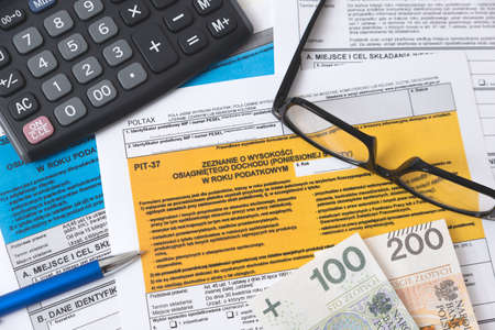 Polish tax form. Finance, tax income, settlements concept