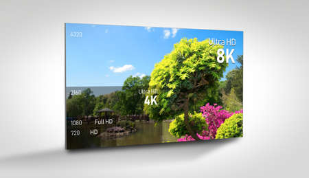 8K resolution display with comparison of resolutions. TV screen panel conceptual graphic. Imagens